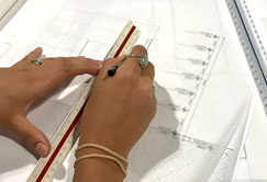 hand drawing architectural blueprint